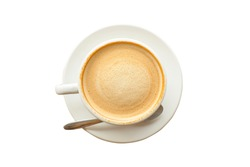 hot latte coffee with beautiful smooth froth in a classic white coffee cup flat lay top view on white background with clipping path