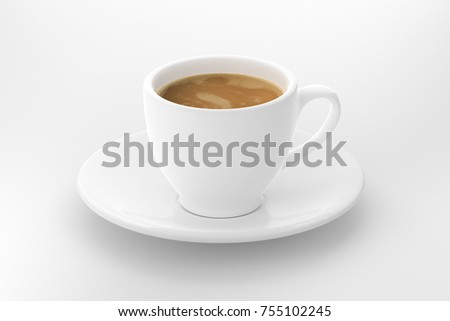 hot latte with white ceramic coffee cup on white background  #755102245