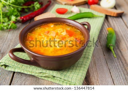 Hot lentil soup with onion
