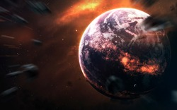 Hot magma planet in deep space. Elements of this image furnished by NASA