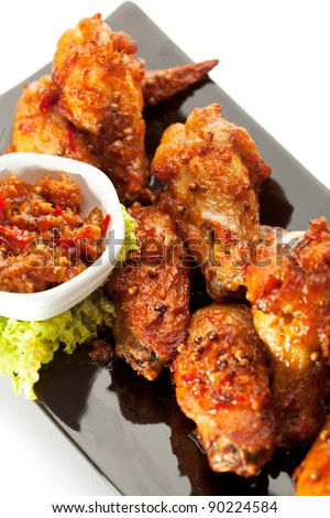 Hot Meat Dishes - Fried Chicken Wings with Curry Sauce