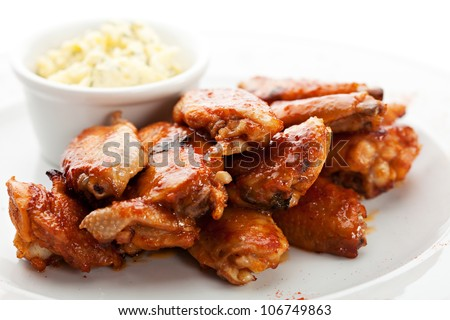 Hot Meat Dishes - Fried Chicken Wings with Garlic Cheese Sauce