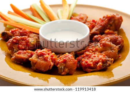 Hot Meat Dishes - Fried Chicken Wings with White Sauce