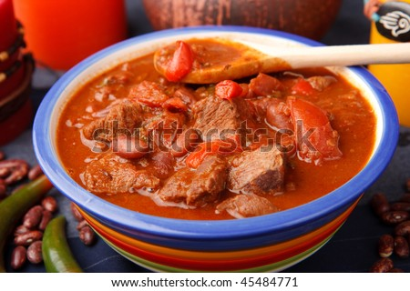 Hot mexican eat with chili and meat (closeup)