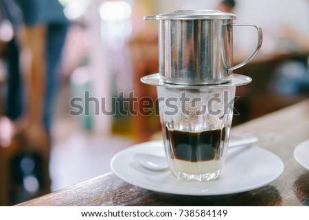 Hot milk coffee dripping in Vietnam style.