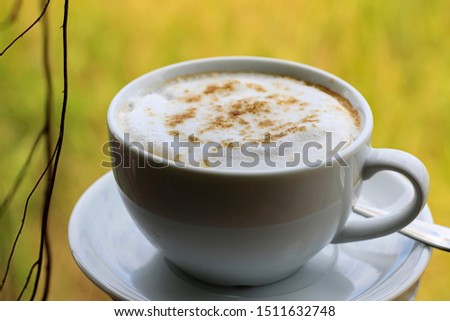 Hot mocha coffee in the morning in a white glass #1511632748