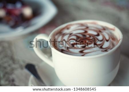 Hot mocha coffee mug with blueberry cheese pie #1348608545