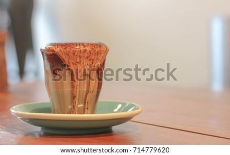 hot mocha coffee overflow on the glass , modern coffee style ストックフォト ©