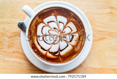 hot mocha latte coffee cup on the wood table background #792571189