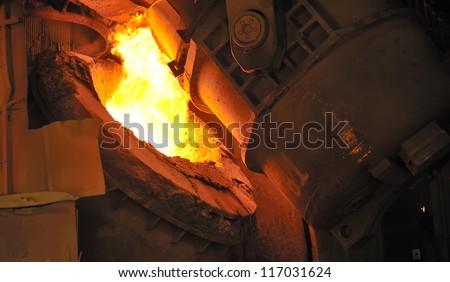 hot molten steel - stock photo