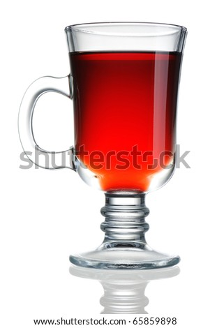 Hot mulled wine isolated on white with reflection