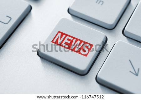 Hot news key on keyboard concept.