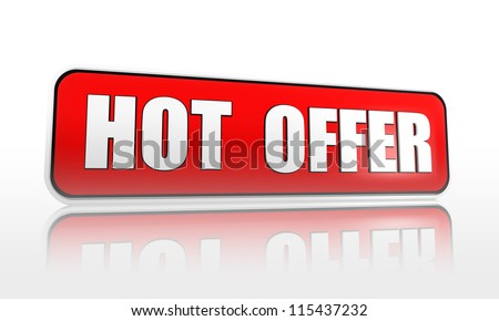 hot offer 3d red banner with white text, business concept