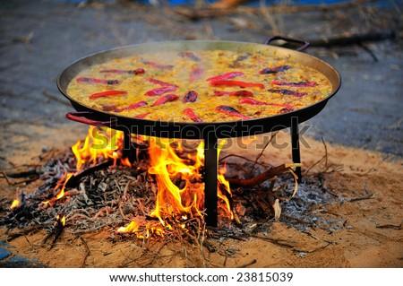 hot paella - spanish traditional food