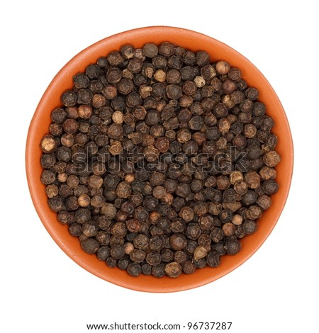 hot pepper, black pepper, in a clay bowl, isolated, white background, texture