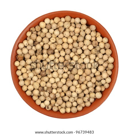 hot pepper, white pepper, in a clay bowl, isolated, white background, texture
