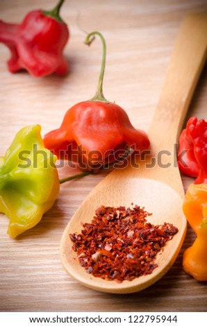 hot peppers and paprika on wood