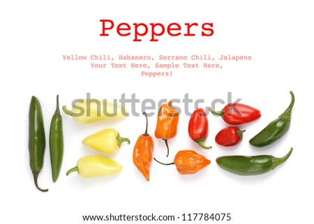 Hot peppers isolated on white background with sample text
