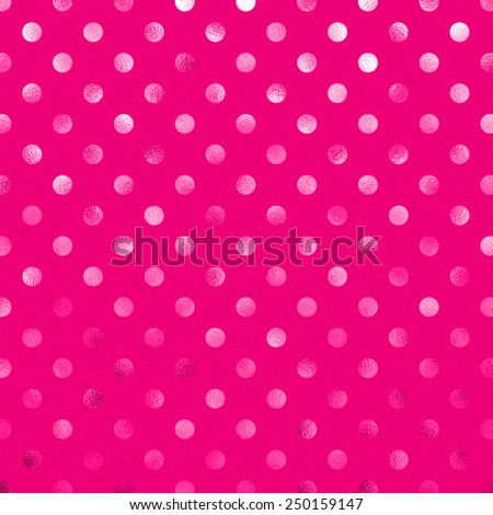 Hot Pink Metallic Foil Polka Dot Pattern Swiss Dots Texture Paper Color Background