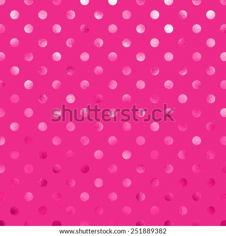 Hot Pink Metallic Foil Polka Dot Pattern Swiss Dots Texture Paper Color Background Stock photo ©
