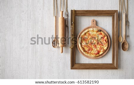 Hot pizza slice with melting cheese with frame concept close up photo