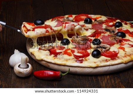 hot pizza with melting cheese on lifter