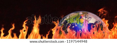 hot planet Earth, the blue planet surrounded by flames, global warming warning (3d science illustration banner, elements of this image are furnished by NASA)