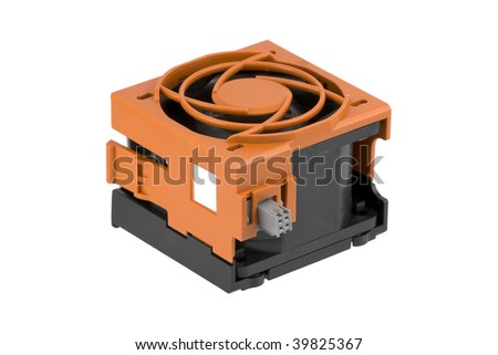 Hot-plug cooling fan assembled in a protection cage. Used in server systems. Isolated on pure white background.