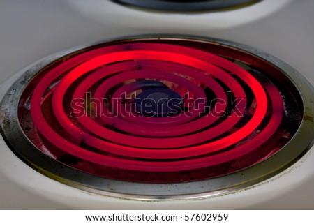 Hot red glowing electric burner - energy waste concept