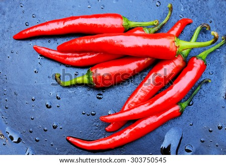 hot red pepper on a dark background with water drops