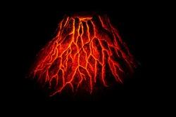 hot red volcano in the dark night