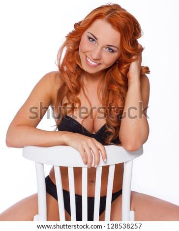 Desire redhead woman posing was