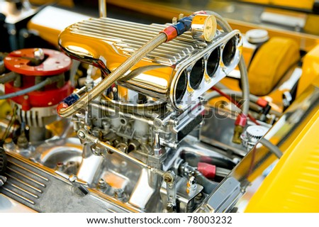 hot-rod supercharger and engine bay detail