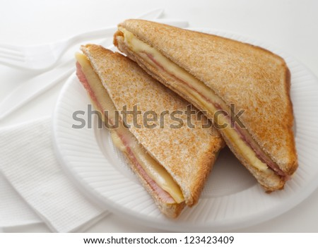 Hot sandwich with ham cheese for breakfast