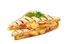 Hot sandwich with melted cheese on white
