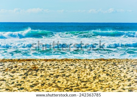 Hot Sandy Ocean Beach. Small Waves Closeup #242363785