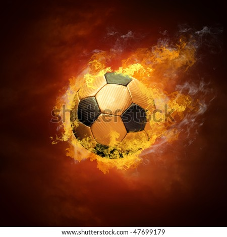 Hot soccer ball on the speed in fires flame - stock photo