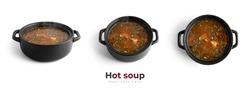 Hot soup in a black pot isolated on a white background. High quality photo