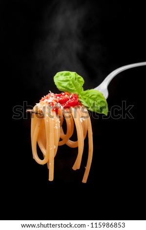 Hot spaghetti with tomato, basil and grana. Italiano Dish