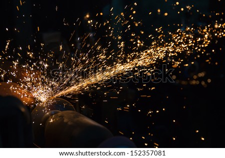 hot sparks at grinding steel material