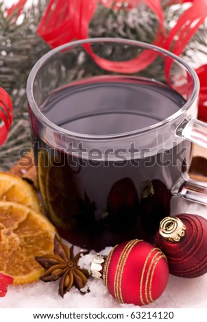 Hot Spiced Wine with Christmas Decoration