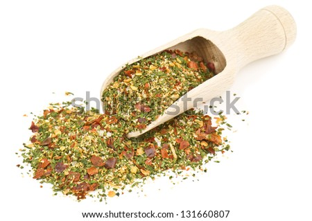 hot spices on white background