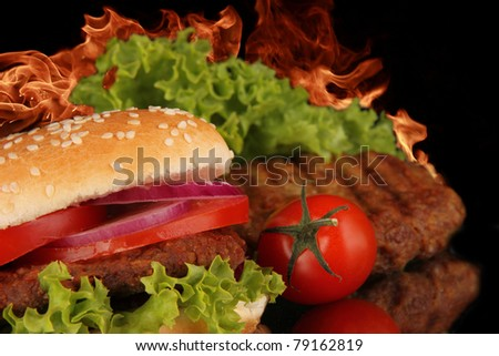Hot spicy hamburger