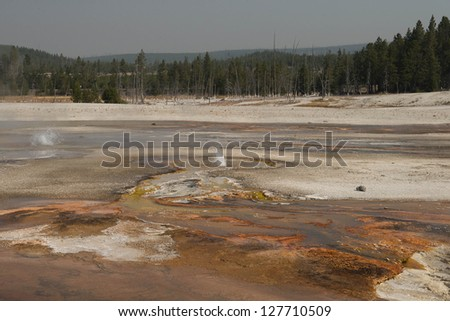 Hot spring flowing into river, Yellowstone National Park, Wyoming, USA