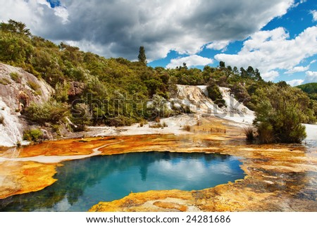 Hot spring in volcanic valley, New Zealand
