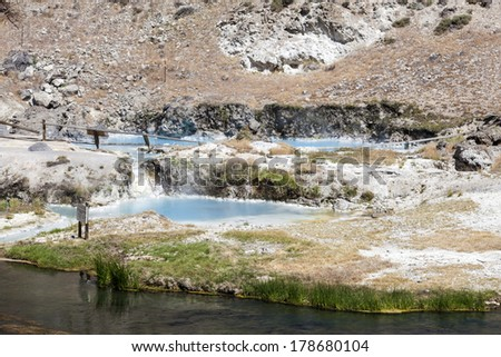 hot springs at hot creek geological site near mammoth