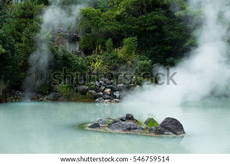 Hot springs in Beppu of Japan