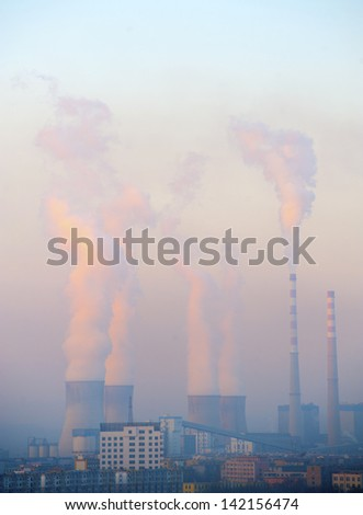 hot steam from big chimney