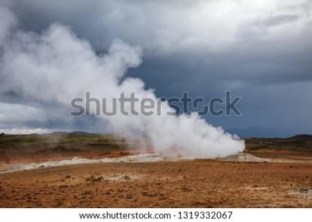 Hot steaming geothermal vent or fumarole at Námafjall Hverir geothermal area in Mývatn region, Northeastern Iceland, Scandinavia