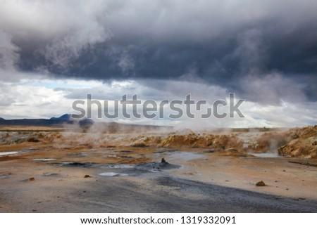 Hot steaming mud at Námafjall Hverir geothermal area in Mývatn region, Northeastern Iceland, Scandinavia